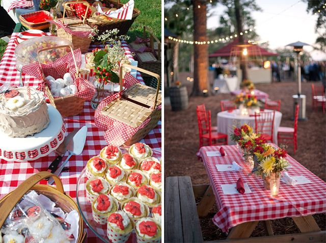 country table with red and white checkered table cloth.   nona306