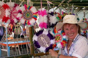 Feathered fans for sale in Palau 2004 at the Festival of the Pacific Arts