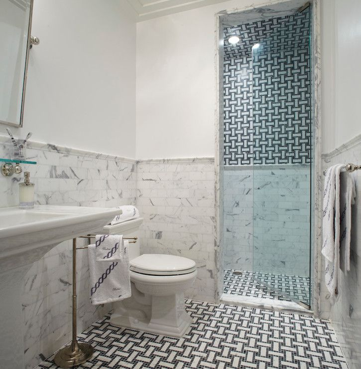Eva quateman interiors bathrooms marble subway tile for Half tiled bathroom ideas