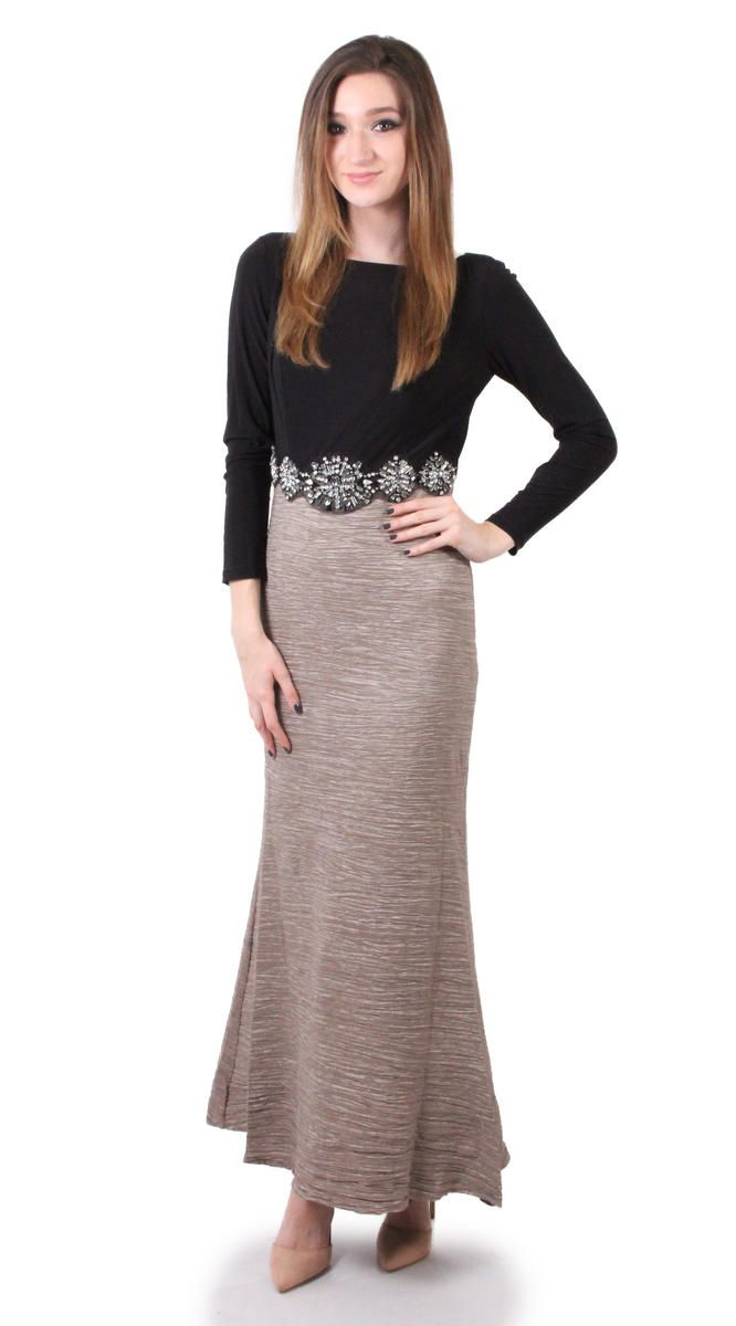 Cachet- 57092 Black and taupe gown with beaded waist and long sleeves