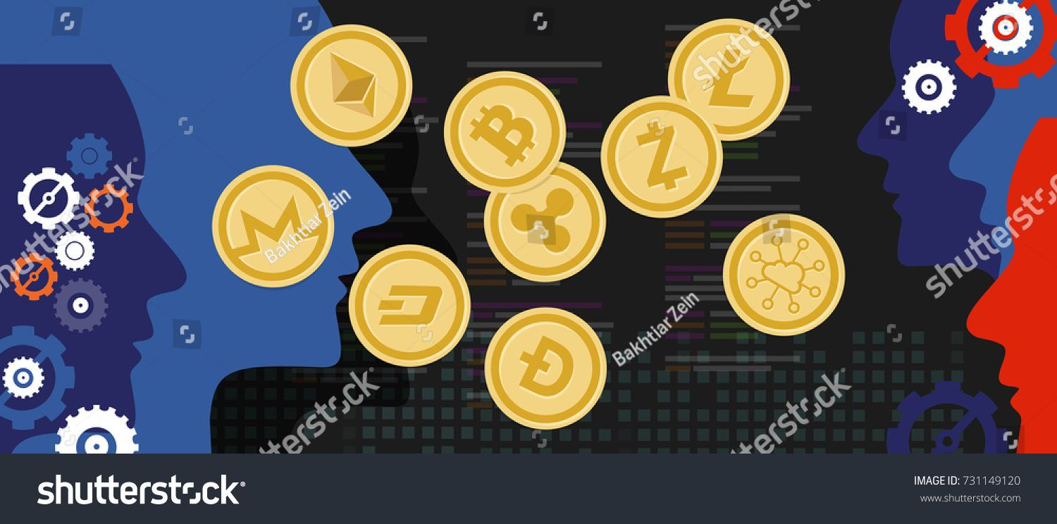 Cryptocurrency Coin Set Bitcoin Digital