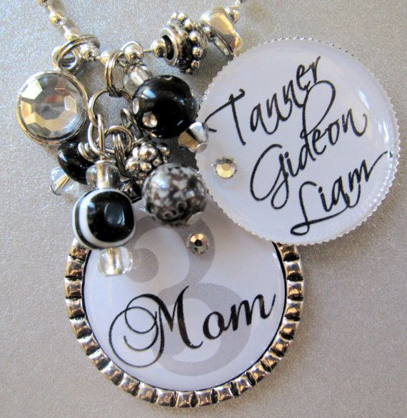 Mother's Necklace Personalized Children's Names by buttonit, $24.50