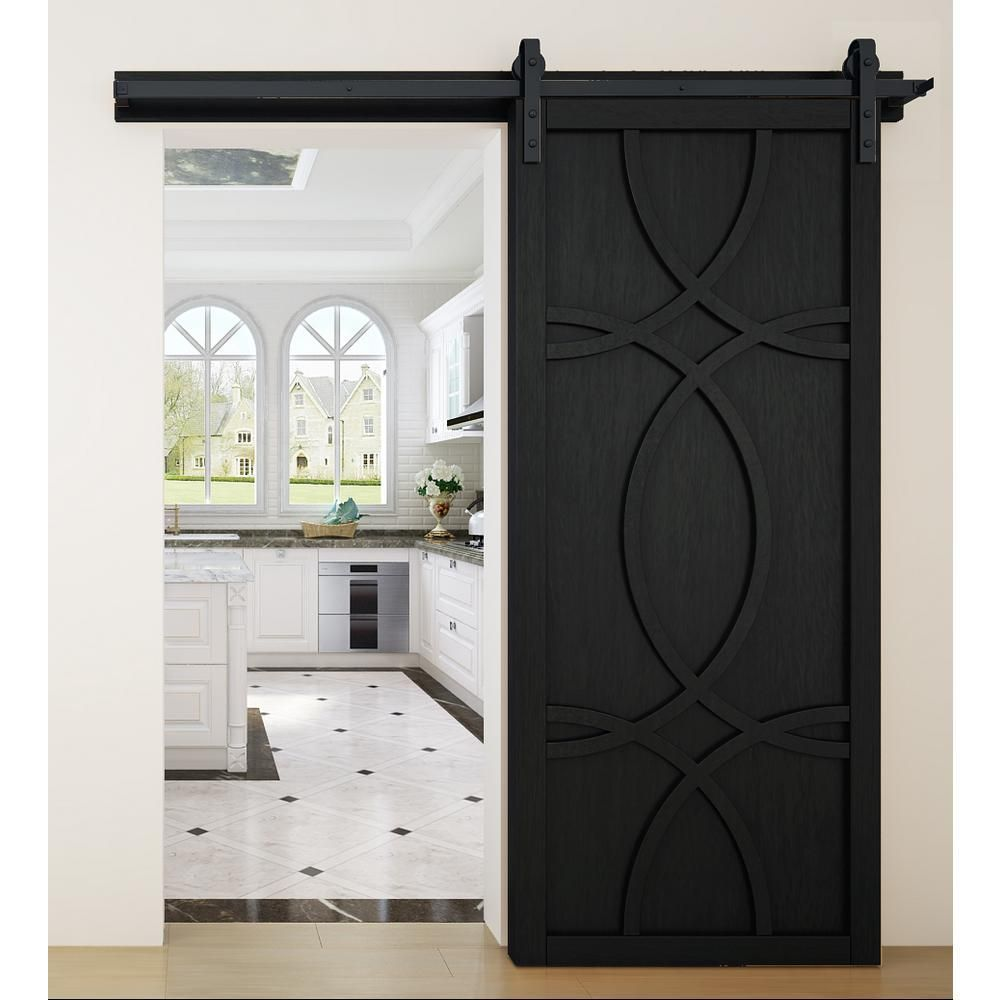 VeryCustom 36 in. x 84 in. Hollywood Midnight Wood Sliding Barn Door with Hardware Kit-RWHW36MTB1 - The Home Depot