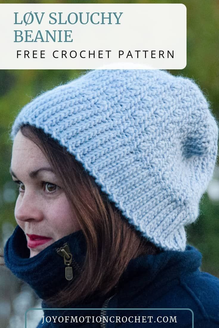 9f77c70e847 Løv Slouchy Beanie crochet pattern. FREE Hat beanie crochet pattern easy to  make. PDF crochet pattern available. Beanie crochet pattern in size 12  months