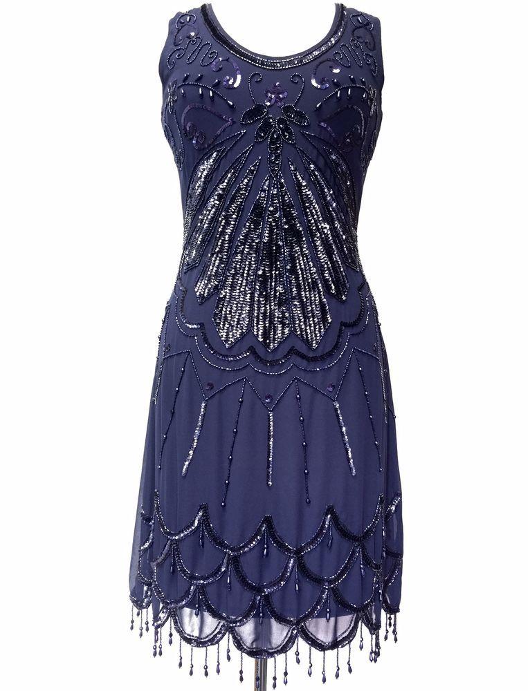 Blue Vintage 1920s Flapper Gatsby Downton Abbey Fringe Beaded Dress ...