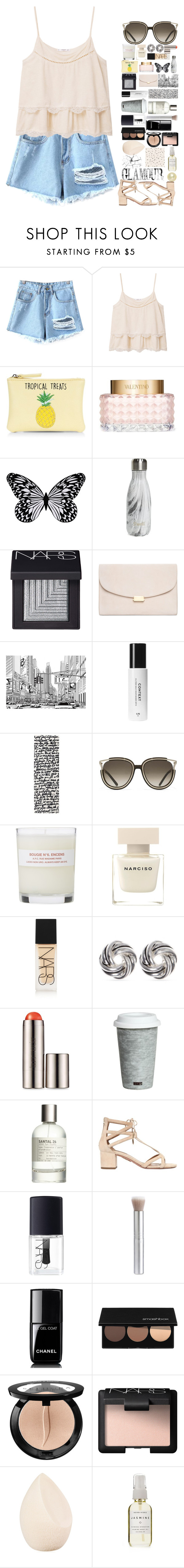 """""""peach top"""" by retro-obsessed ❤ liked on Polyvore featuring Chicnova Fashion, MANGO, New Look, Valentino, Visionnaire, S'well, NARS Cosmetics, Mansur Gavriel, nanimarquina and Chloé"""