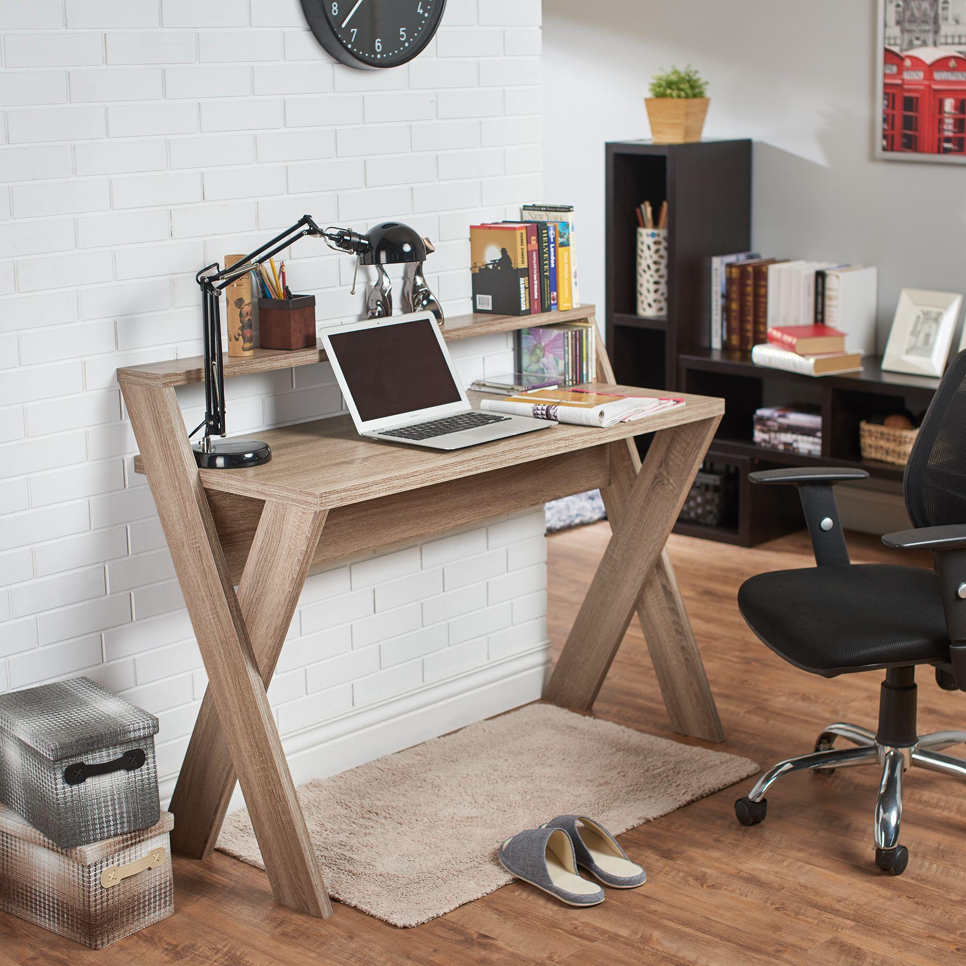 Furniture Of America Drolet Transitional Cross Legged Home Desk Beige Tan Diy Desk Plans Diy Office Desk Diy Furniture