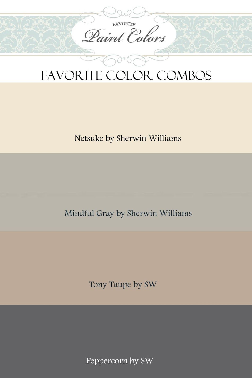 Sherwin williams popular greys - Gray And Beige Color Combination Netsuke Mindful Gray Tony Taupe And Peppercorn By Sherwin Williams