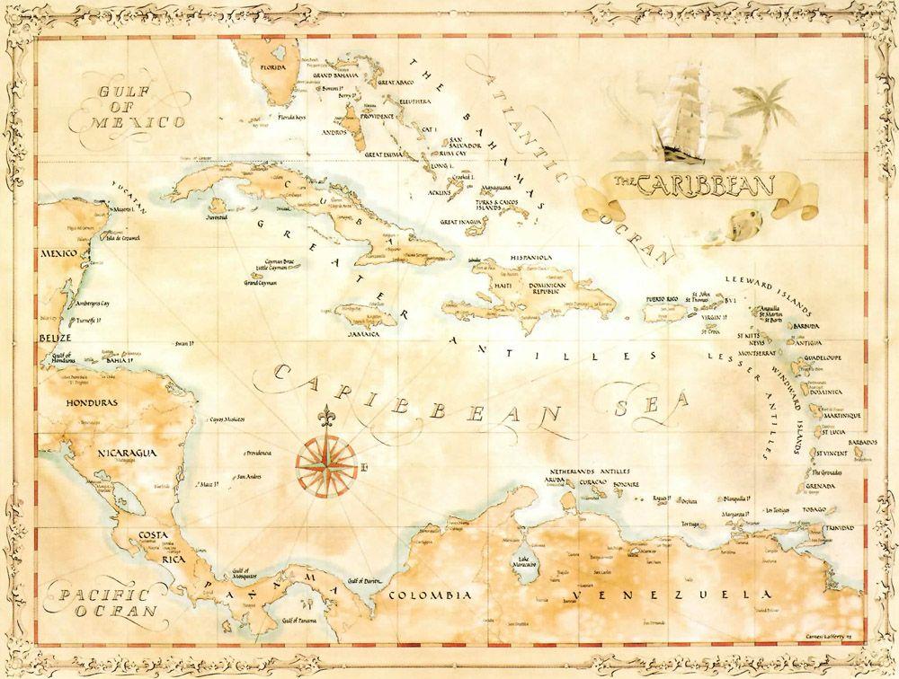 Caribbean Magic Map  Coastal livingroom  Pinterest