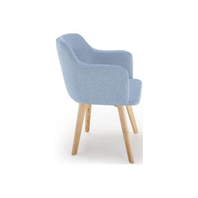 chaise scandinave tissu bleu crush saga - Chaises Scandinaves Bleu