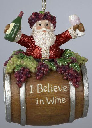 Wine Themed Christmas Tree Pictures In Wine Santa On Barrel Christmas Ornament Wine Theme Christm Christmas Ornaments Christmas Wine Christmas Tree Ornaments
