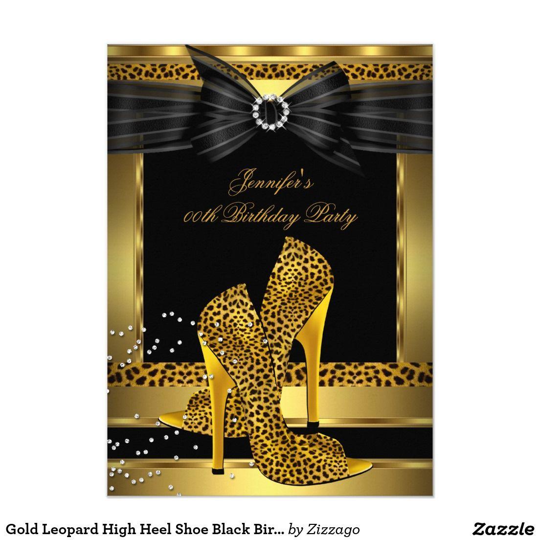 Gold Leopard High Heel Shoe Black Birthday Party 4.5x6.25 Paper ...