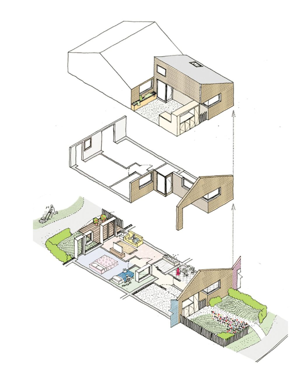 Mmc Based Bungalow Exploded Axon Architectural Drawings Diagram Pinterest Architecture Concept Presentation Board