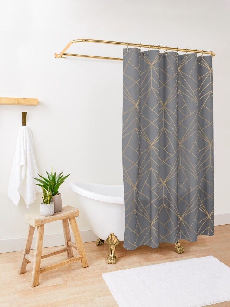 grey gold geometric pattern shower
