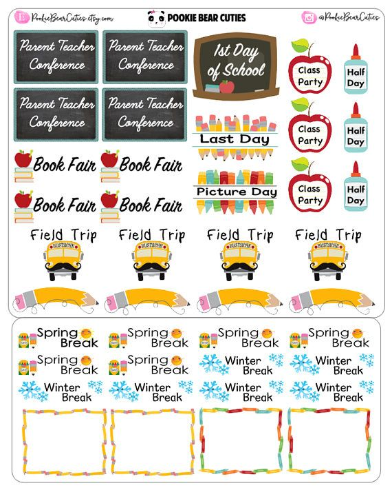 Back to School Stickers0189 Planner freebies and ideas - school calendar