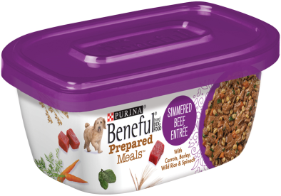Sale $1.25 - Purina Beneful Prepared Meals Simmered Beef Entree Dog Food 10 Ounce Plastic Tub