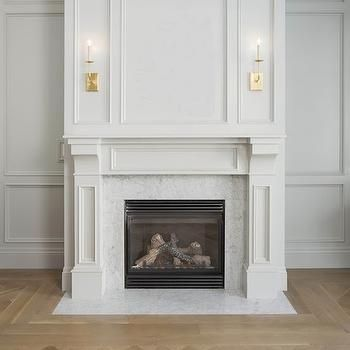 Herringbone Fireplace Tiles Transitional Living Room The Blissful Bee Home Fireplace Fireplace Mantel Designs Marble Fireplace Surround
