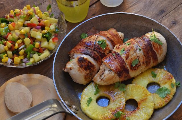 Pollo a la parrilla con salsa de piña. | Cuchillito y Tenedor