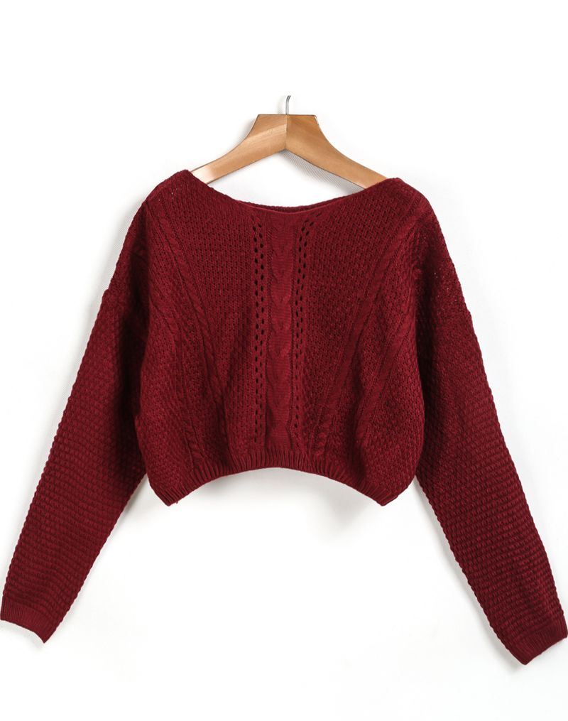 Shop Red Long Sleeve Cable Knit Crop Sweater online. Sheinside ...
