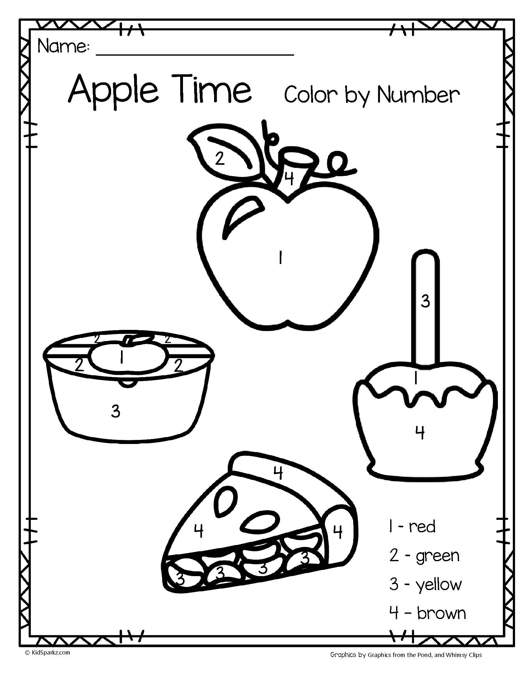 Apple Time Color By Number Printables