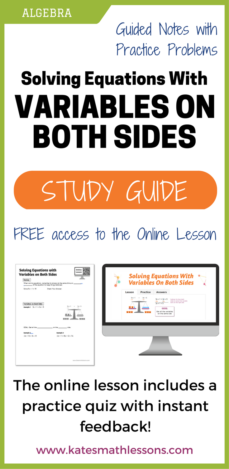 Solving Equations with Variables on Both Sides Study Guide ...