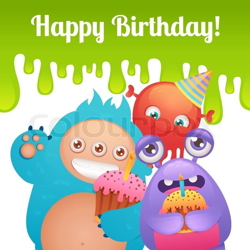Stock vector of u0027Cute cartoon monster party funny alien characters - happy birthday cards templates
