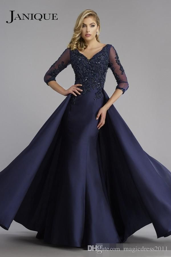 059d59e14b 2017 Navy Janique Mother Of the Bride Mermaid V Neck 3 4 Sleeve Applique  Lace Beaded Floor Length Formal Plus Mother Dress Mother s Dresses Beaded  Mother ...
