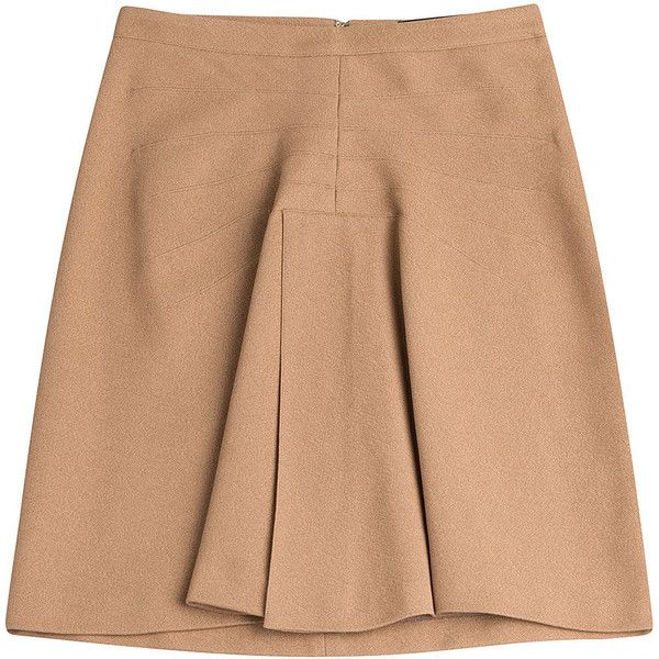 Derek Lam A-Line Skirt (665 BRL) ❤ liked on Polyvore featuring skirts, camel, beige skirt, camel a line skirt, camel skirt, knee length a line skirt and beige a line skirt