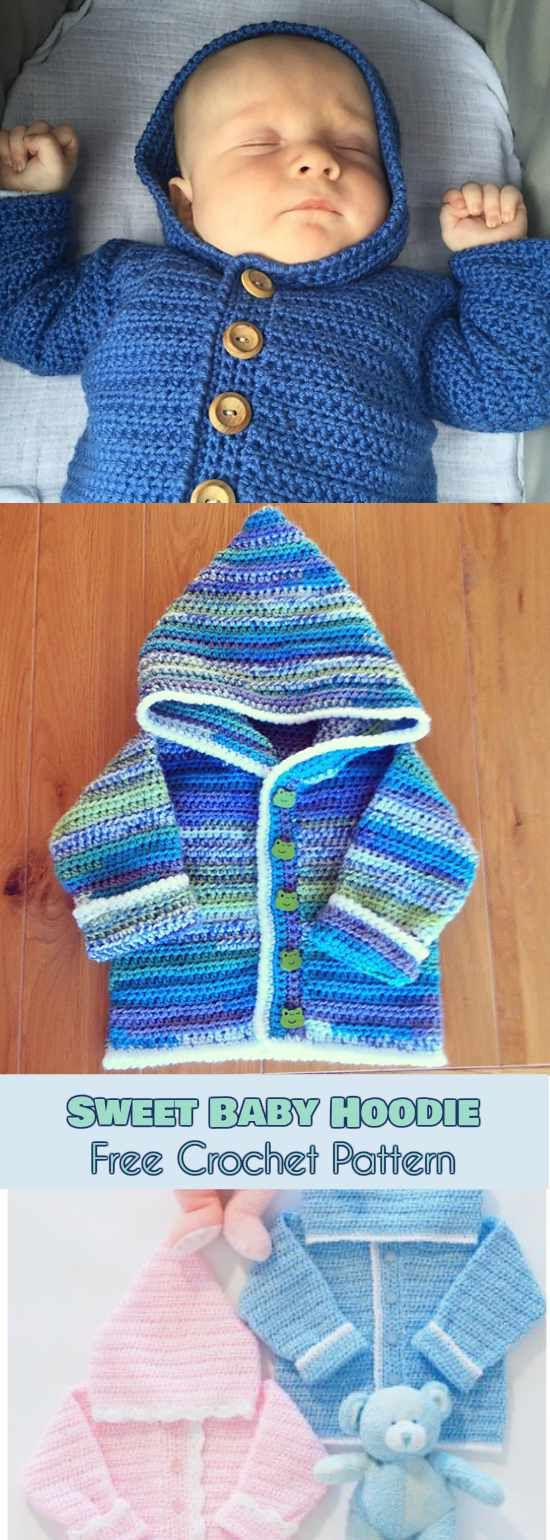 Sweet Baby Hoodie [Free Crochet Pattern]   Baby shower gifts and ...