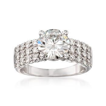 Ross-Simons - 3.42 ct. t.w. Synthetic Moissanite Ring in 14kt White Gold - #826896