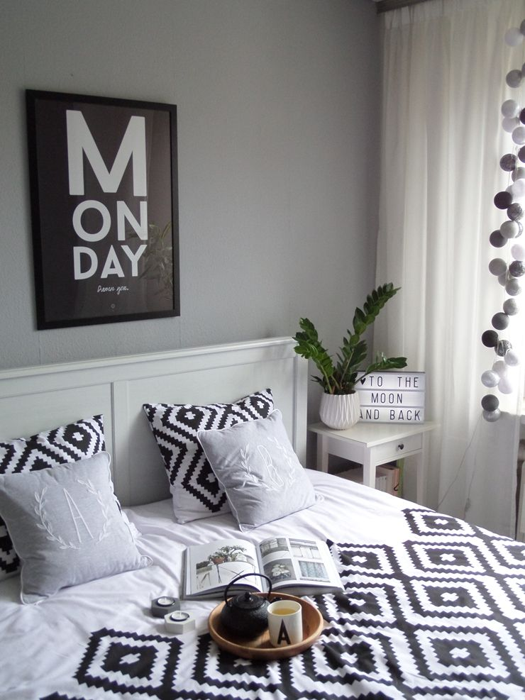 Skandynawska Weranda Sypialnia Black And White Bedroom