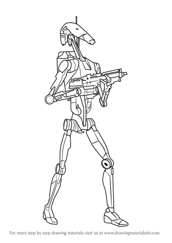 How To Draw Battle Droid From Star Wars Step 0 Png 566 800 Battle Droid Star Wars Tattoo Star Wars Battle Droids
