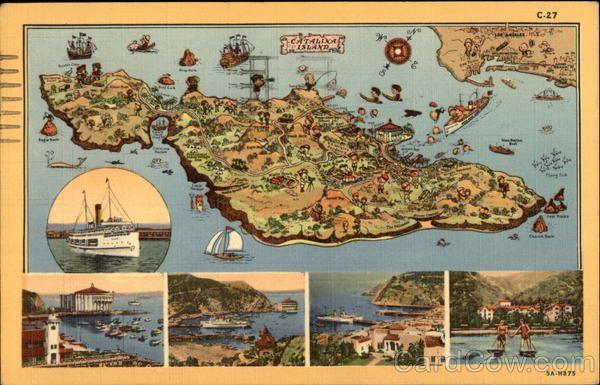Map Of Catalina Island Ca Santa Catalina Island Catalina Island California Postcard