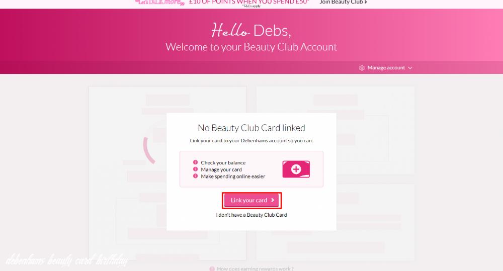 Beauty Club Card Help Debenhams Invitation Card Birthday Cards Club Card