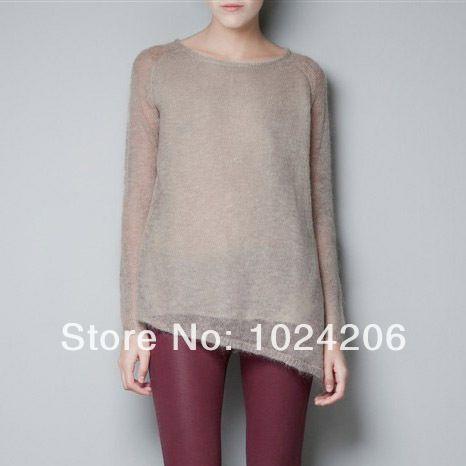 new 2014 Knitted  Knitwear Women Fashion New Leisure Irregular Hem long sleeve tops Sweater spring Women turtleneck with vest $20.68