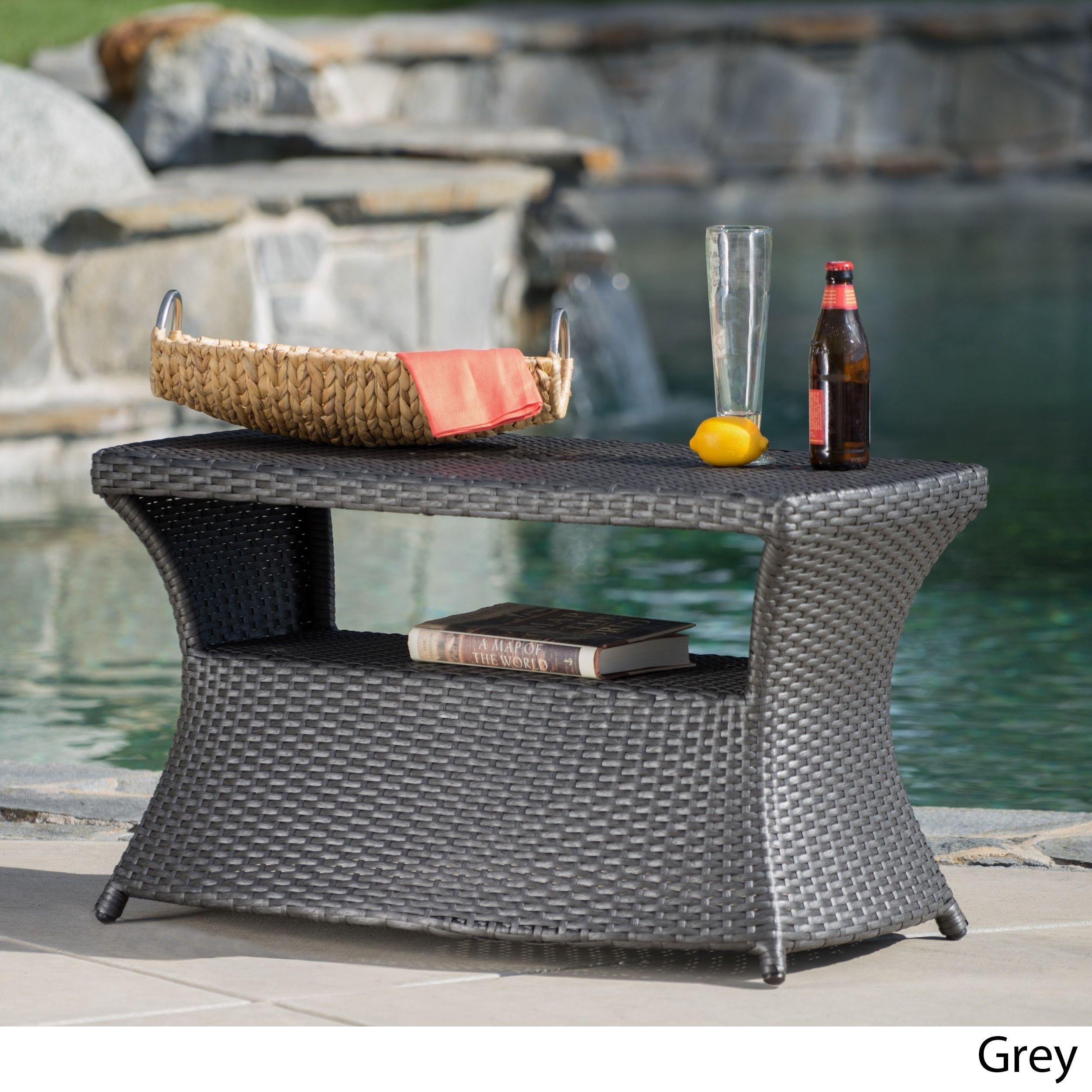 Berkeley Outdoor Wicker Side Table With Umbrella Hole By Christopher Knight Home 19 5 H X 34 W X 22 D Wicker Patio Furniture Wicker Side Table Outdoor Wicker Furniture