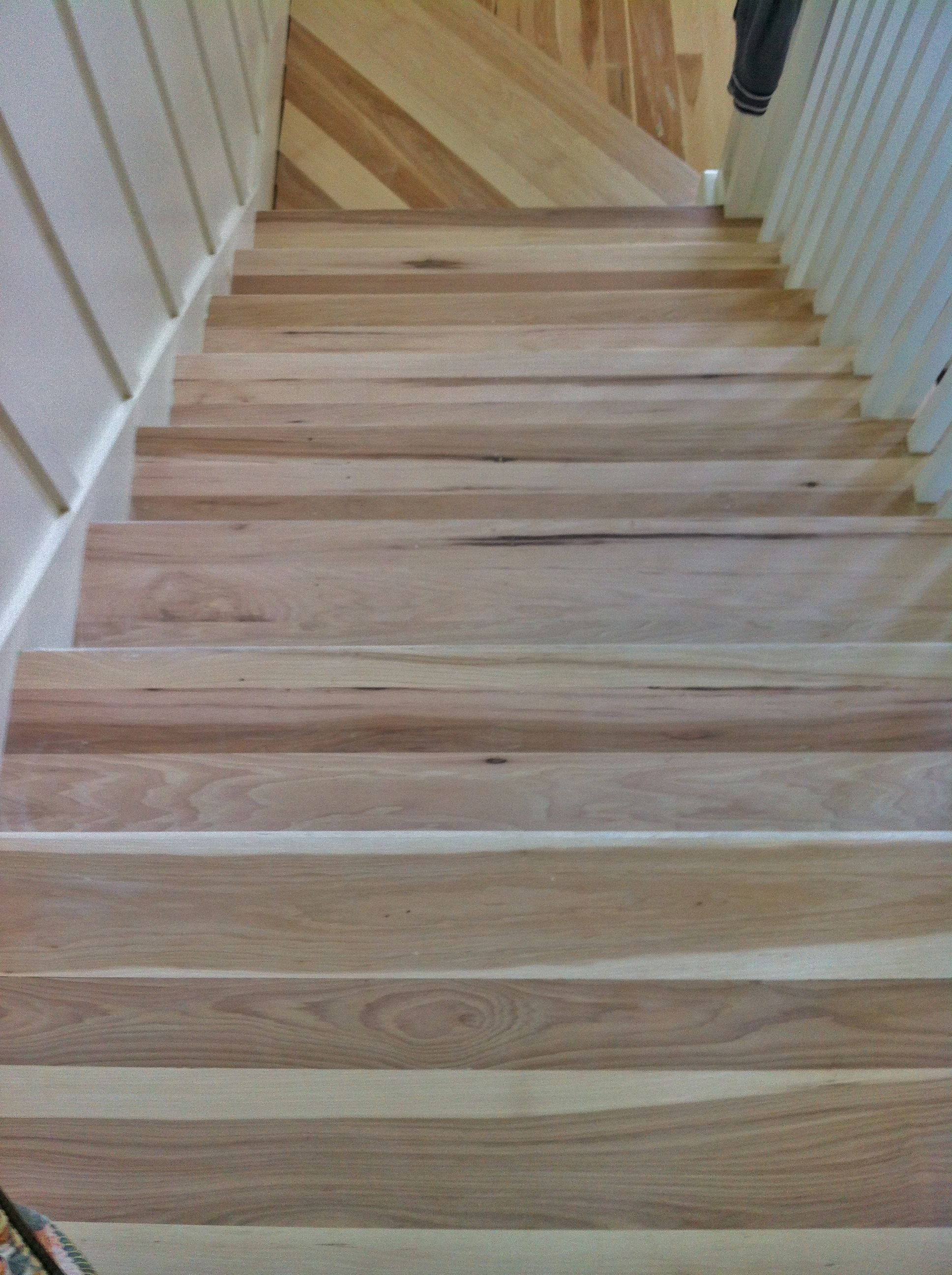 Hickory Stair Treads Before They Were Stained Dark Walnut Stair | Prefinished Hickory Stair Treads And Risers | Stair Parts | Hickory Natural | Stairtek | Natural Prefinished | Oak Stair Nosing