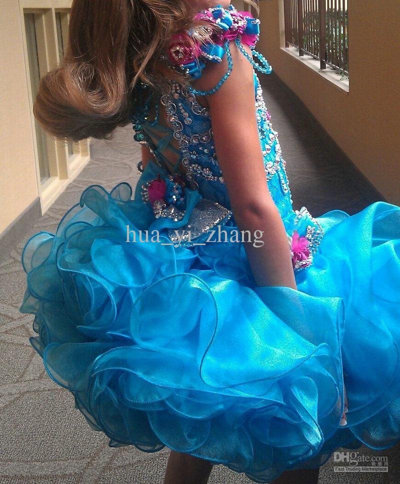 2013 New Arrival Blue Scoop Strap Little Girls Pageant Dresses Cupcake Dress Multilayer Skirt GD44