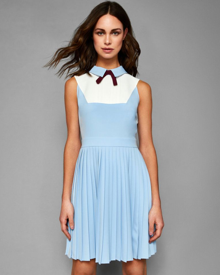 ab127e186 Collared bib pleated dress - Baby Blue