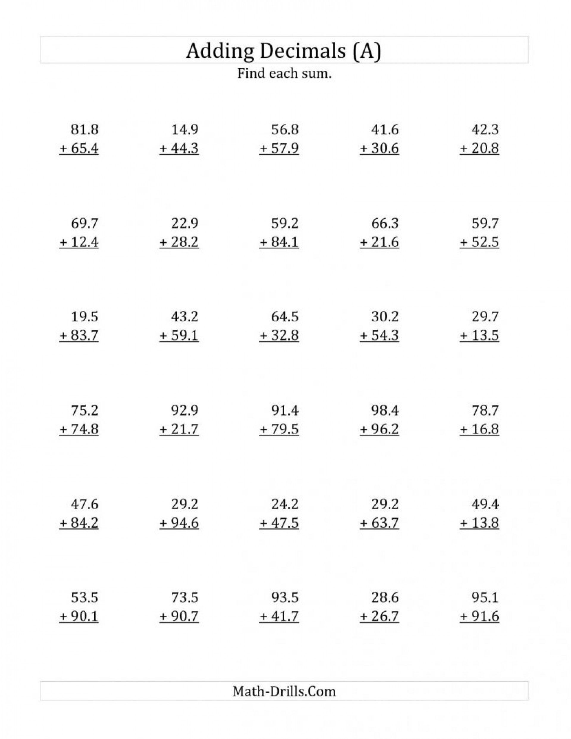 4 Worksheet Free Math Worksheets Sixth Grade 6 Decimals