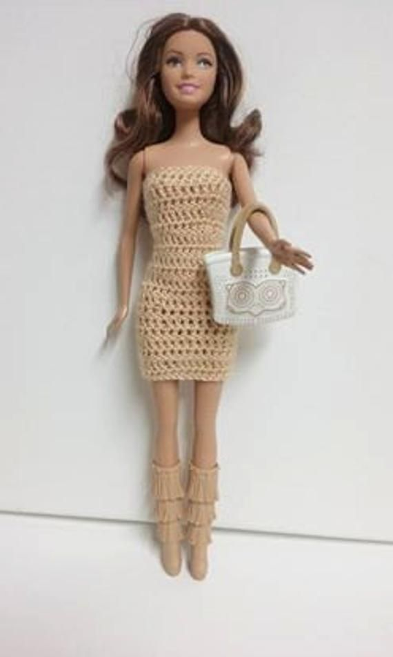 Crocheted Barbie Dress with halo. Barbie doll clothes. Barbie doll. Barbie's closet. Crocheted clothes. Crocheted barbie doll clothes. Doll.