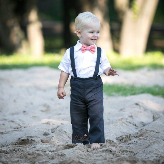 ac392c24f Baby boy suspenders suit Ring bearer outfit 1st birthday coal gray pants  suspenders coral bow tie Ba