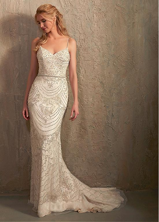 eb2d5c64c522 Shining Tulle Spaghetti Straps Neckline Mermaid Wedding Dress With Beaded  Embroidery