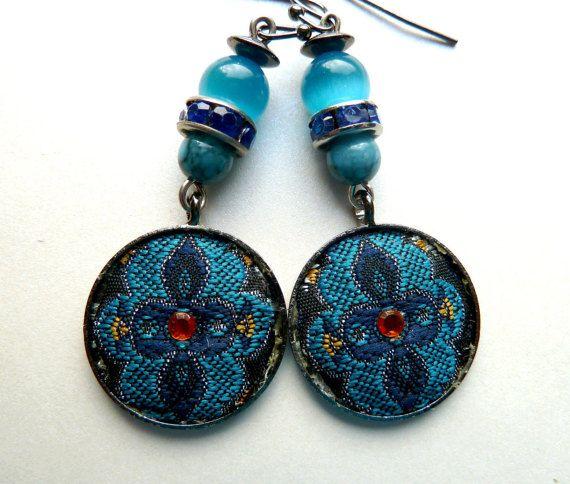 Blue Dangle earrings Orange earrings Fabric by BalticSummer