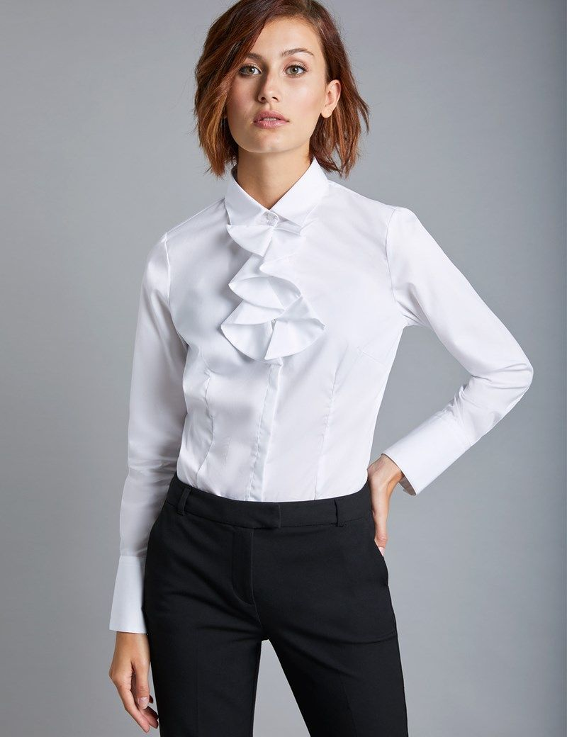 Women s White Fitted Shirt with Neck Frill Detail - Single Cuff ... d6518cd1e