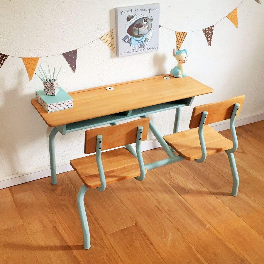 Bureau pupitre ecolier vintage enfant chouette fabrique 4 - Petit bureau ecolier en bois ...