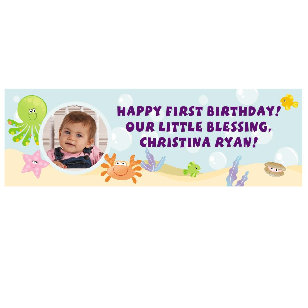 Custom Photo Small 1st Birthday Under the Sea Vinyl Banner