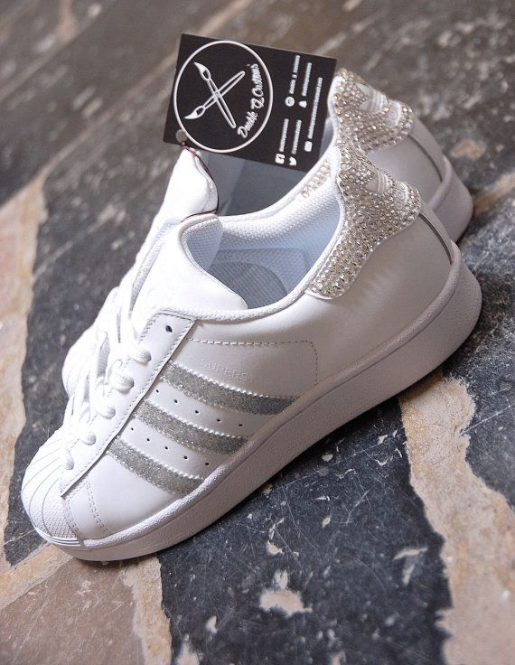 Adidas Superstar Glitter Silver & Swarovski by DoubleGCustoms