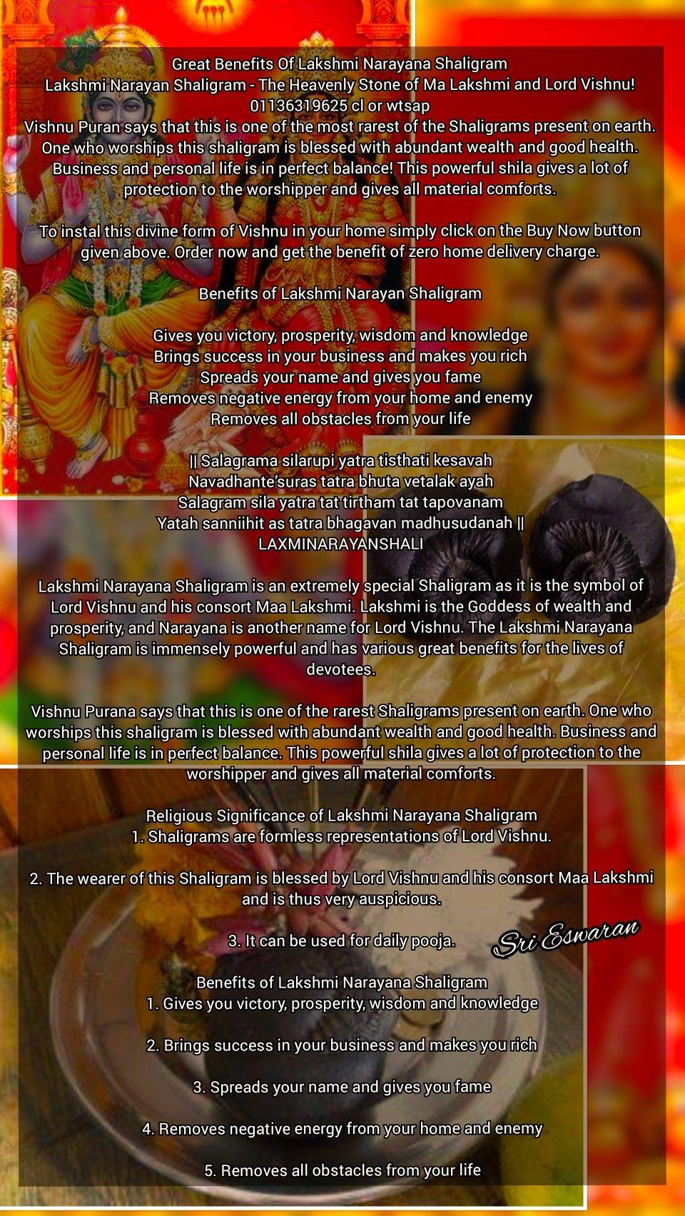 Great Benefits Of Lakshmi Narayana Shaligram Lakshmi Narayan