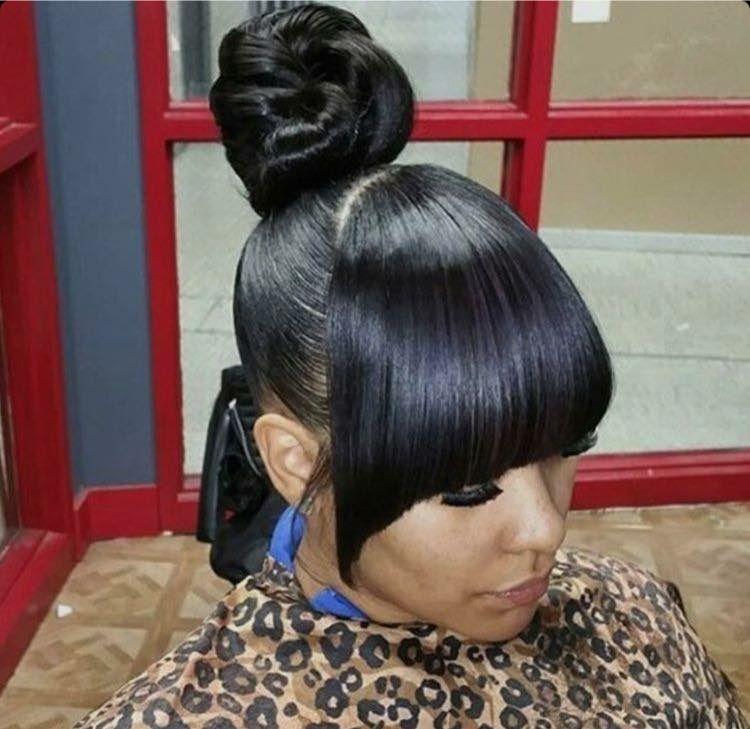 Bun And Bangs High Bunblack Ponytail Hairstyleshairstyles For Natural Hairponytail